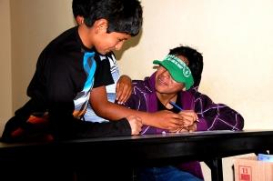 Luis Arturo, Jose Luis and Edison, hard at work (?).