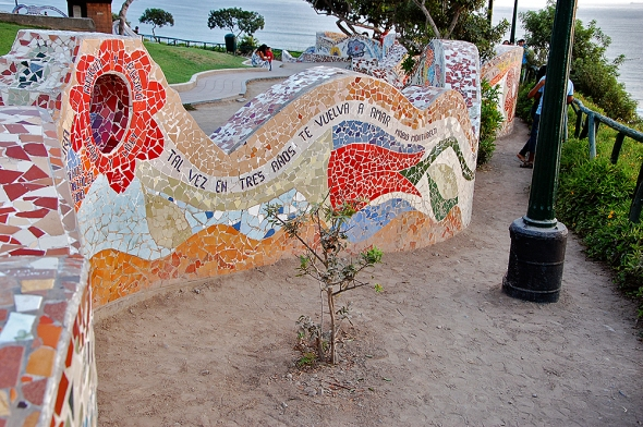 The colorful, tiled walls at the Malecon oceanfront park in Lima feature lines from several Spanish-language love poems.