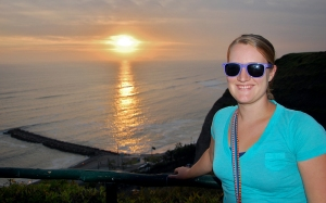 Meg smiles in front of the setting sun at the Malecon in Lima on Wednesday, March 20.