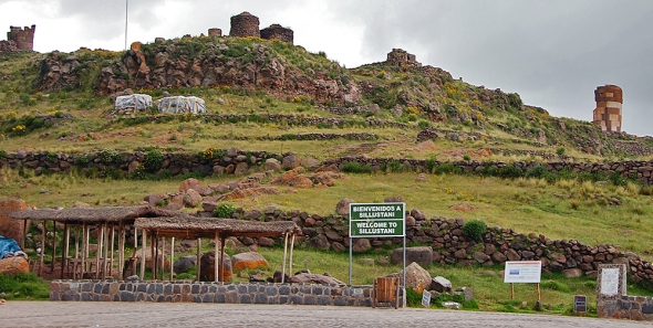 The funerary towers at Sillustani can be seen from the town square of the village along the shore of Lake Umayo near Puno, Peru.